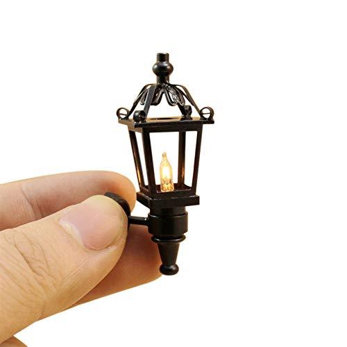 DishyKooker Mini Black Outdoor Metall Wandleuchte für 1:12 Puppenhausdekoration Frühlernspielzeug für die Dekoration des Puppenhauses -