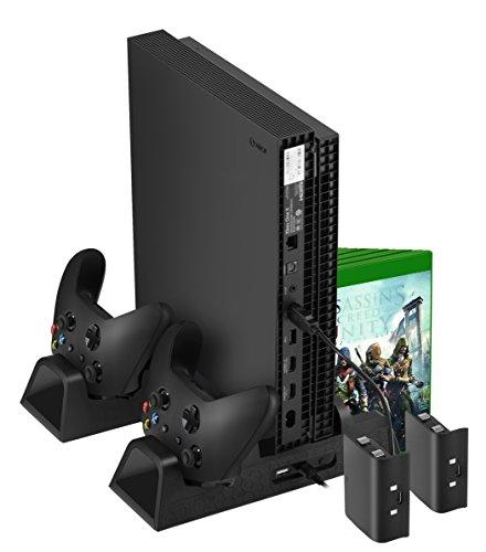 Yocktec Vertical Stand für Xbox One X, Multifunktionale Lüfter Stand Dual Controller Ladestation mit 2 Fans, 3 USB-Hubs und Game Rack für Xbox One / Xbox One X / Xbox One S