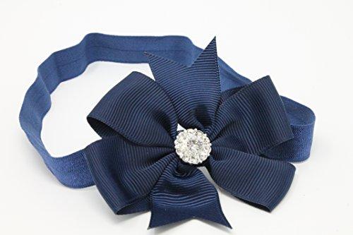 Marineblau Schleife mit Strass auf Baby Mädchen Haarband Hair Elastic Nylon Band Hand Made