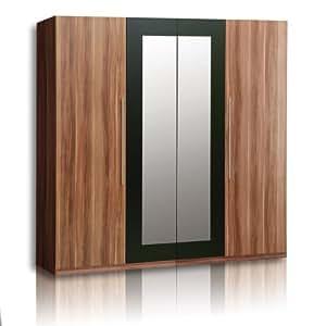 roller kleiderschrank helen walnuss mit spiegel accessoires wohnen k che haushalt. Black Bedroom Furniture Sets. Home Design Ideas