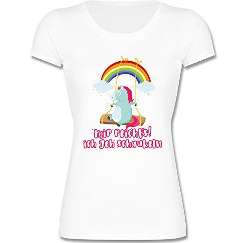Sprüche Kind - Mir Reichts, Ich geh Schaukeln - Einhorn - 152 (12-13 Jahre) - Weiß - F288K - Mädchen T-Shirt (Kurzarm-t-shirt Wrap)