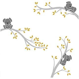 Bdecoll Autocollant mural Koala arbre---Décor moderne de nursery-pour chambre d'enfants/bébés (Grey Yellow)