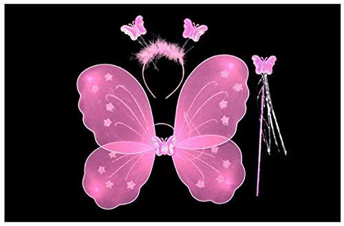 leegicst Feenflügel,Glitzer Elfen Engel ,Flügel Fee Engel , Kostüm- Kinder,Schmetterlingsflügel Verkleiden Neuheit Cosplay Kostüm Party für Zauberer Kostüm (Schmetterlingsflügel mit Zauberstab