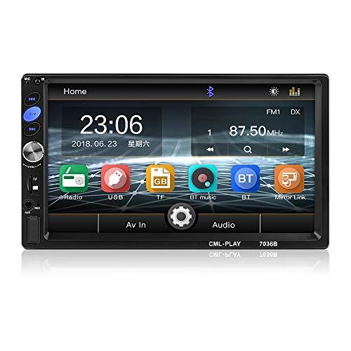 MiCarBa 7 Zoll Doppel 2-Din HD 1024 * 600 Auto-Stereo-Video-Player,Touchscreen-Autoradio mit Fernbedienung Unterstützung FM Android 8 Spiegel Link (CL7036B)