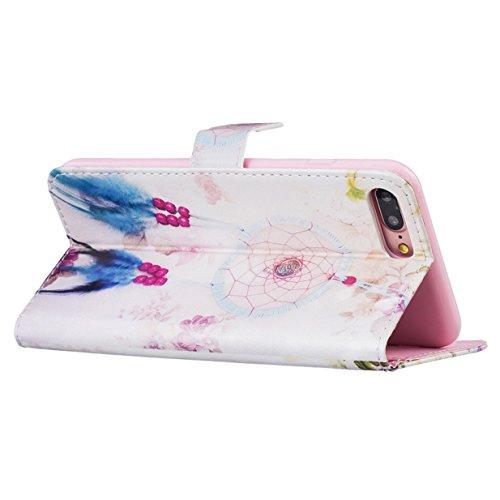 WYSTORE Étui pour Apple iPhone 7 plus PU Cuir Flip Folio Cover Case Housse avec Stand Support et Fente pour Carte et Arrière Coque de protection - papillon coloré Campanula plume