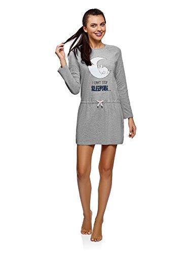 oodji Ultra Damen Tagless Hauskleid mit Elastischem Bund, Grau, DE 36 / EU 38 / S