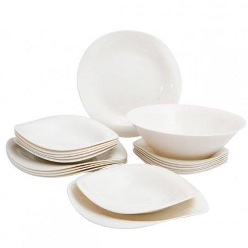 Service de vaisselle 19 pièces SET pour 6 personnes de la verre LUMINARC Volare Zenix Blanc ivoire