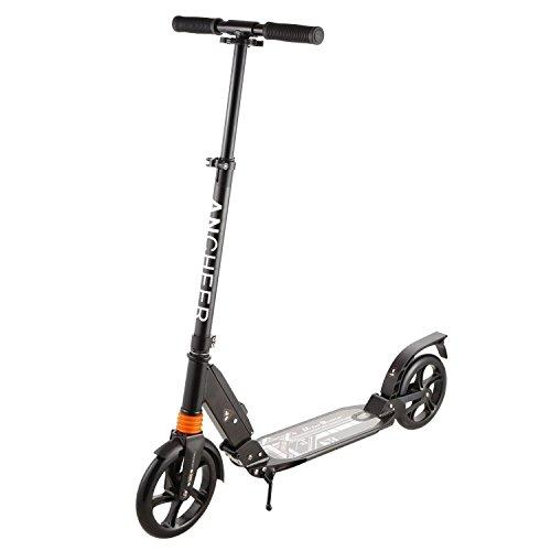 Nisels Big Wheel Scooter Roller Klappbar Cityroller Tretroller für Erwachsene Jugendliche und Kinder ab 12 Jahre, höhenverstellbar Kickscooter Luftbereifung Schwarz
