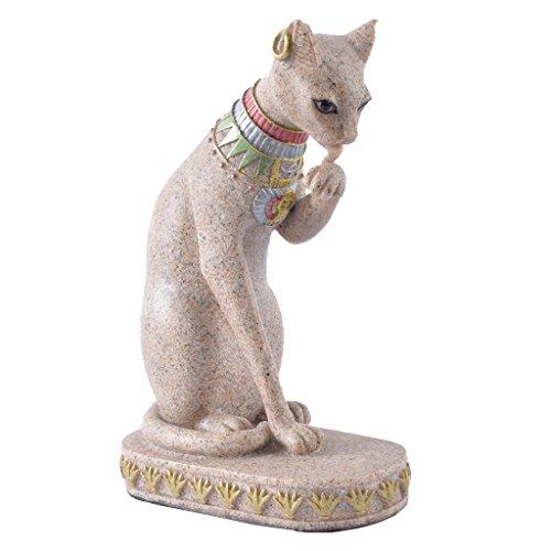 MagiDeal Estatua de Lindo Gato Estilo Vendimia de Egipcio Piedra Arenisca Estatuilla de Colección Tallada a Mano