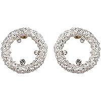 afcbc8e7241d YUJUEE Aretes para Mujer Simple Rhinestone Ronda Stud Earring Encanto Metal  Dorado Declaración Parte