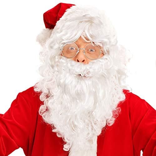 Santa Kostüm Zubehör - WILLBOND Weihnachtsmann Perücke und Bart mit Einer Brille Realistische Weihnachtsmann Perücke und Bart Set Weiß Santa Perücke und Bart Zubehör für Weihnachten Kostüm