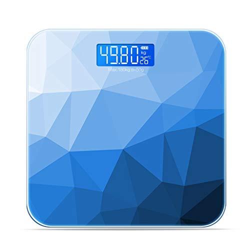 BBJOZ Gewicht Personenwaage, Intelligente Körperfettwaage USB-Aufladung, Waage Aus Gehärtetem Glas, Automatische Schalter Maschine 26 cm × 26 cm Elektronische Waagen (Color : Blue)