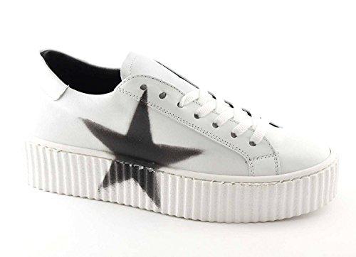 FOLLIE DIVINE 11-301 blanc chaussures de sport baskets lacets plateforme en cuir Bianco