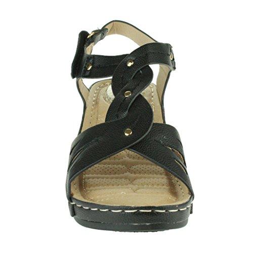 Frau Damen Offener Zeh Komfort Jeden Tag Gepolstert Atmungsaktiv Futter Weich Casual Keilabsatz Sandalen Schuhe Größe Schwarz