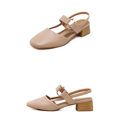 SHEO sandales à talons hauts Mme Baotou tête carrée avec une petite boucle avec des sandales épaisses ( Couleur : Rose , taille : 37 ) Rose