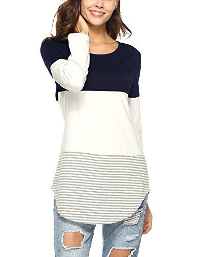 Lylafairy estivo maglietta, strisce donna cotone casual primavera autunno camicia maglia maniche lunghe t shirt (it 48, blu)