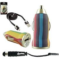Emartbuy Trio Pacchetto Per Motorola Moto E3 - Multicolore Stripes 1 Amp USB Auto Caricabatteria + Nero Mini Stilo + Nero Piattina Micro USB Dati & Ricarica Cavo