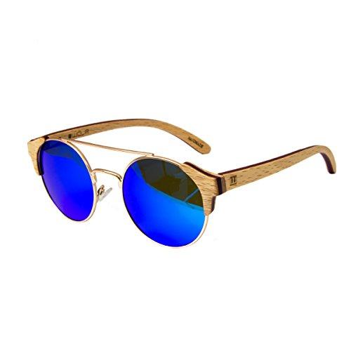 WOLA Damen Herren Sonnenbrille Holz FEU Brille rund mit Metallrahmen polarisiert UV400 Birke blau...