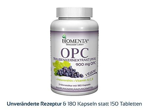 BIOMENTA OPC-Traubenkernextrakt – mit 900 mg OPC hochdosiert (95%) + Astaxanthin + Vitamin A, C, E - 180 VEGANE OPC-Kapseln - 2 Monatskur