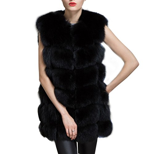 Meloo Fellweste Damen Weste Winter fashion Jacke ärmellos Kunstpelz elegant