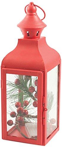 Villa d 'Este Home Tivoli Laterne quadratisch, Glas + Metall, Rot, 11x 10x 30.5cm (Santa Quadratische Gläser)