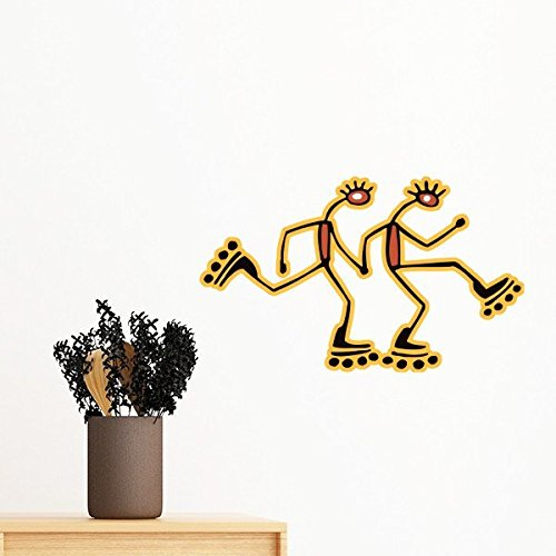 Egypt Culture Red Yellow Figure Roller Skating Totem Abstrakte lustige Illustration Muster Abnehmbare Wandsticker Art Decals Mural DIY Wallpaper for Room Decal 35cm