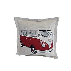 Bullikissen VW Bus Volkswagen retro Bulli Camping Kissen rot Zierkissen ca. 40x40cm
