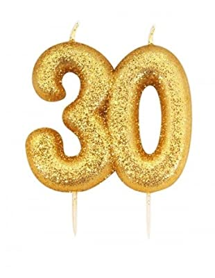 Gold Number Candle - 30 from Anniversary House