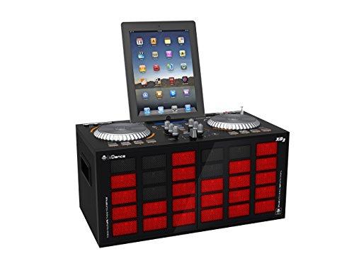 iDance Energy XD3 DJ Set Party Anlage 2 in 1 DJ Mixer und Party Lautsprecher Anlage für Tablets und Smartphones (200 Watt max, Bluetooth, USB, Jog Wheels. Radio, Karaoke-Sektion, LED-Effektbeleuchtung) rot-schwarz