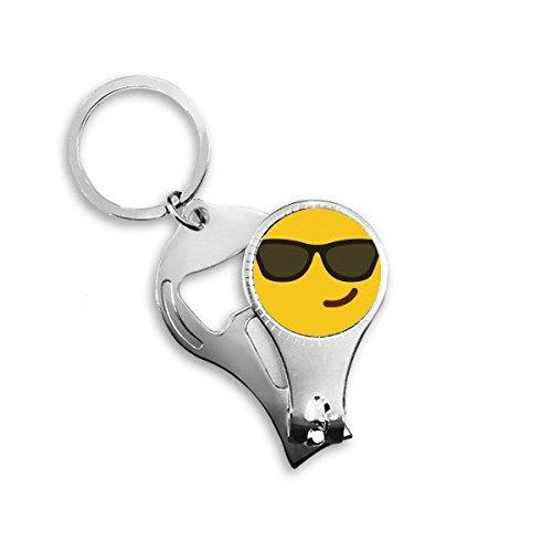 Sonnenbrille Cool gelb Cute Lovely Online-Chat Emoji-Illustration Pattern Metall Schlüsselanhänger Ring Multifunktions-Nagelknipser Flaschenöffner Auto Schlüsselanhänger Best Charm Geschenk
