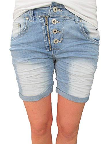 Place du Jour Damen Front Zip Knopfleiste Baggy Boyfriend Stretch Shorts Krempel Hose Denim S-36 -