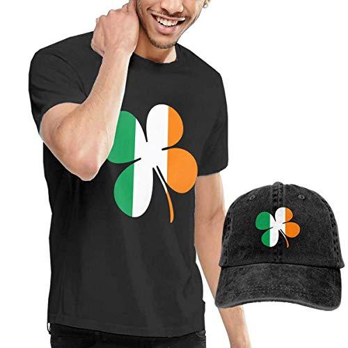 BAQQC Herren Kurzarmshirt Irish Flag with Shamrocks Unisex Fashion Men's T-Shirt and Hats Youth & Adult T-Shirts -