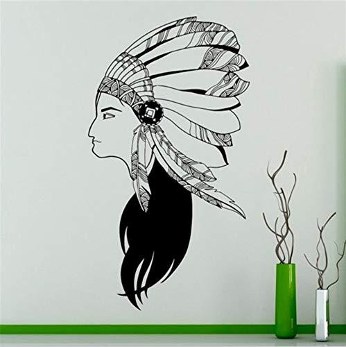 Cchpfcc Indian Wildlife Style Mädchen Mit Hut Wand Wandbild Native American Woamn Art Design Spezielle Wand Aufkleber Home Decor Size57 * 93Cm - Hut Für Mädchen Indian