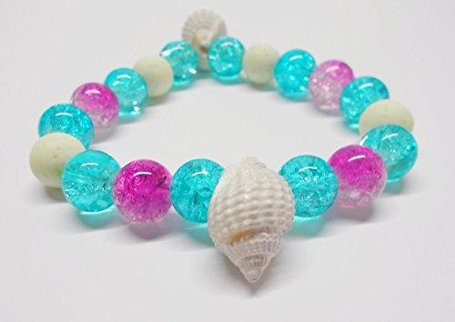 Armband elastisch blau & pink mit Glasperlen in Crash-Optik - Muscheln - Polarisperlen - 19 cm - Elastischen Kunststoff