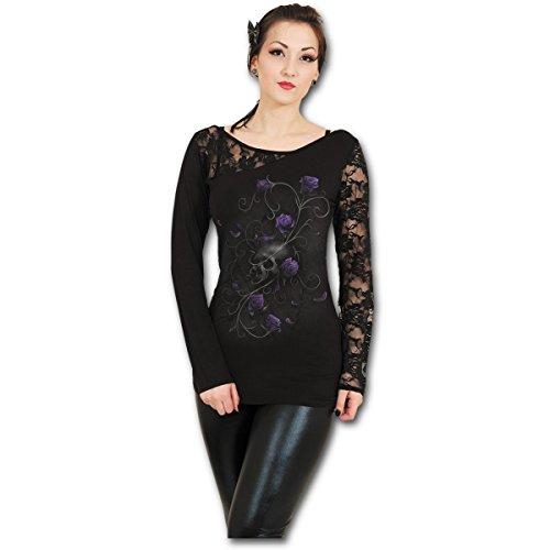 Spiral Direct Damen Entwined Skull - Lace One Shoulder Top Black Langarmshirt, Schwarz 001, 38 (Herstellergröße: Medium)