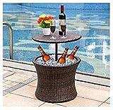 Strandgut Icebox Stehtisch Beistelltisch Getränkekühler Kühlbox 50 cm Durchm. aus Polyrattan wetterfest
