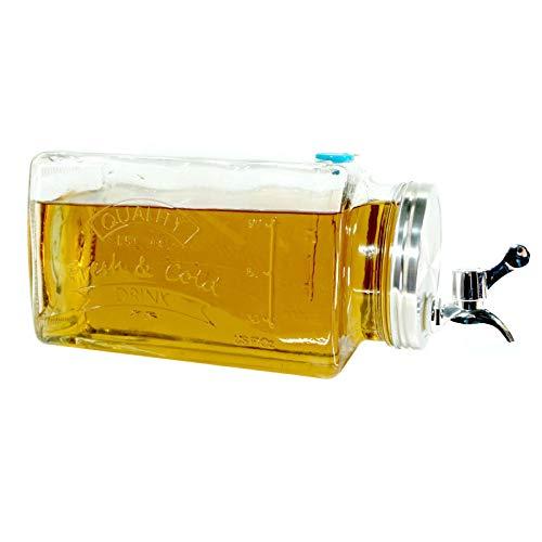 Glas Getränkespender mit Zapfhahn 3l | Wasserspender Saft Cocktail | Spender Dispenser Saftspender Retro | Glaskrug Getränke mit Hahn