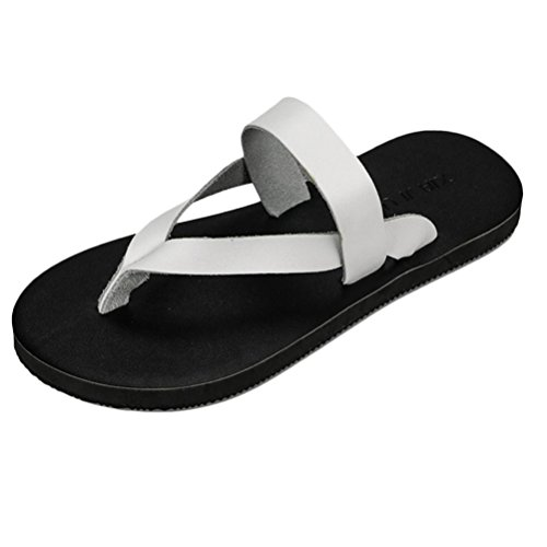 Zhhlaixing Summer Mens Comfortable Flip Flop Beach Flat Sandals Non-slip Shoe white