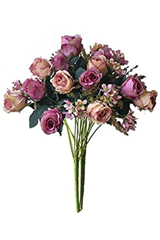 Artificial Multi-Coloured Rose Silk Flowers Bounquet Mixed Arrangement, Home Hotel Room Wedding Decoration(7 Head Fuchsia Rose,Pack of
