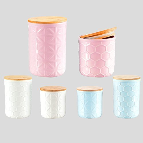 Aufbewahrungsdose Porzellan Holzdeckel Keramik Dose Aufbewahrung Bunt Shabby