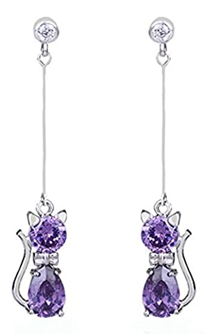 SaySure - 10KT White Gold Filled Zircon Earring Dangle Drop Earring