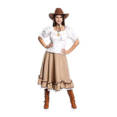Blusen Cowgirl (Kostümplanet® Westernrock Deluxe Damen lang braun Cowgirl-Kostüm Größe 44)