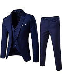 Rera Homme Costume 3 pièces Veste+Gilet+Pantalon Décontracté Formel Slim  Fit d affaire Occasionnels Mariage Business Blazer Unie… 8a3e2592e37