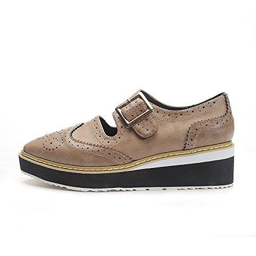 AalarDom Damen Rein Spitz Zehe Niedriger Absatz Pu Leder Weiches Material Pumps Schuhe Aprikosen Farbe-Schnalle