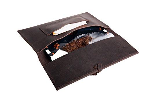 Drehertasche Tabaktasche Tabaksbeutel Baum Rindleder Echt Leder Tobacco Pouch German Design (Braun-Motiv 3) braun