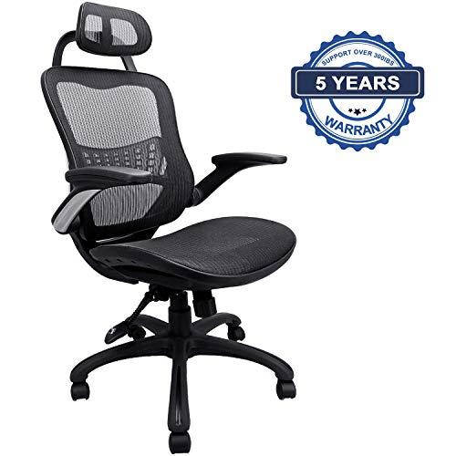 Komene Ergonomischer Schreibtischstuhl, BIFMA/SGS Geprüft, Belastbar bis 300lbs/150Kg, Bürostuhl mit Neuartigem Netz-Design-Sitzkissen,Verstellbare Kopfstütze,Wippfunktion, Armlehne, Sitzhöhe