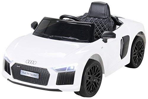 Kinder Elektroauto Audi R8 Spyder Modell 2017 NEU Lizenziert Original Kinderelektroauto Kinderfahrzeug Auto (Weiß)