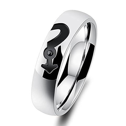 Bishilin Edelstahlring Male und Female Symbols Puzzle Herz Zirconai Paarringe Verlobungsringe Größe 57 (Amethyst Hängende Uhr)