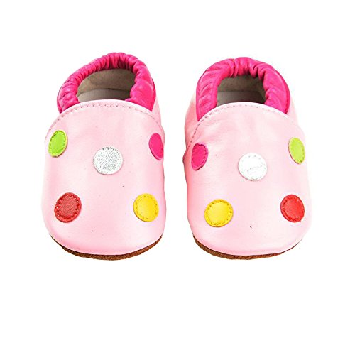 Vesi-Chaussures Bébé Cuir Souple Chaussons Premiers Pas Respirant pour Garçon Fille Nourrisson Efant Point Taille XL:18-24 Mois
