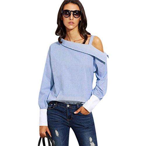 Amuster in cima alla moda donne piega a strisce blu spalla asimmetrica camicia manica lunga (xl)